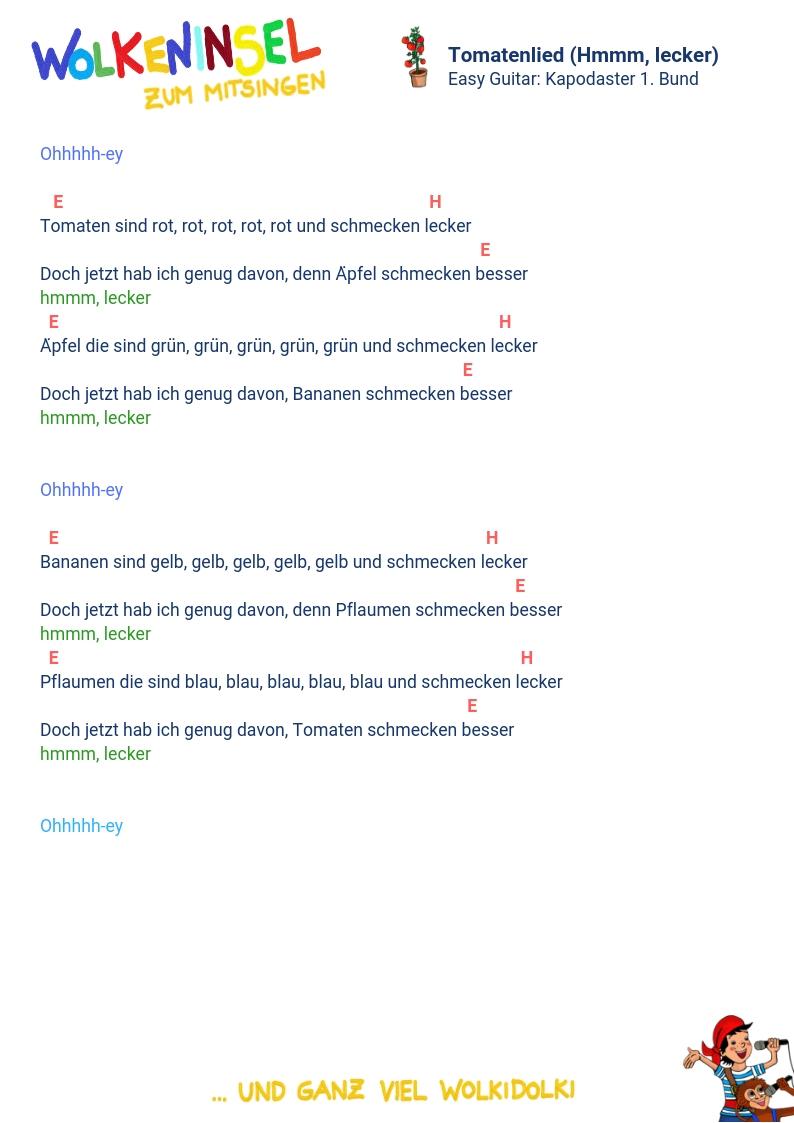 Wolkeninsel Kinderlieder: Liedtexte und Akkorde zum Ausdrucken