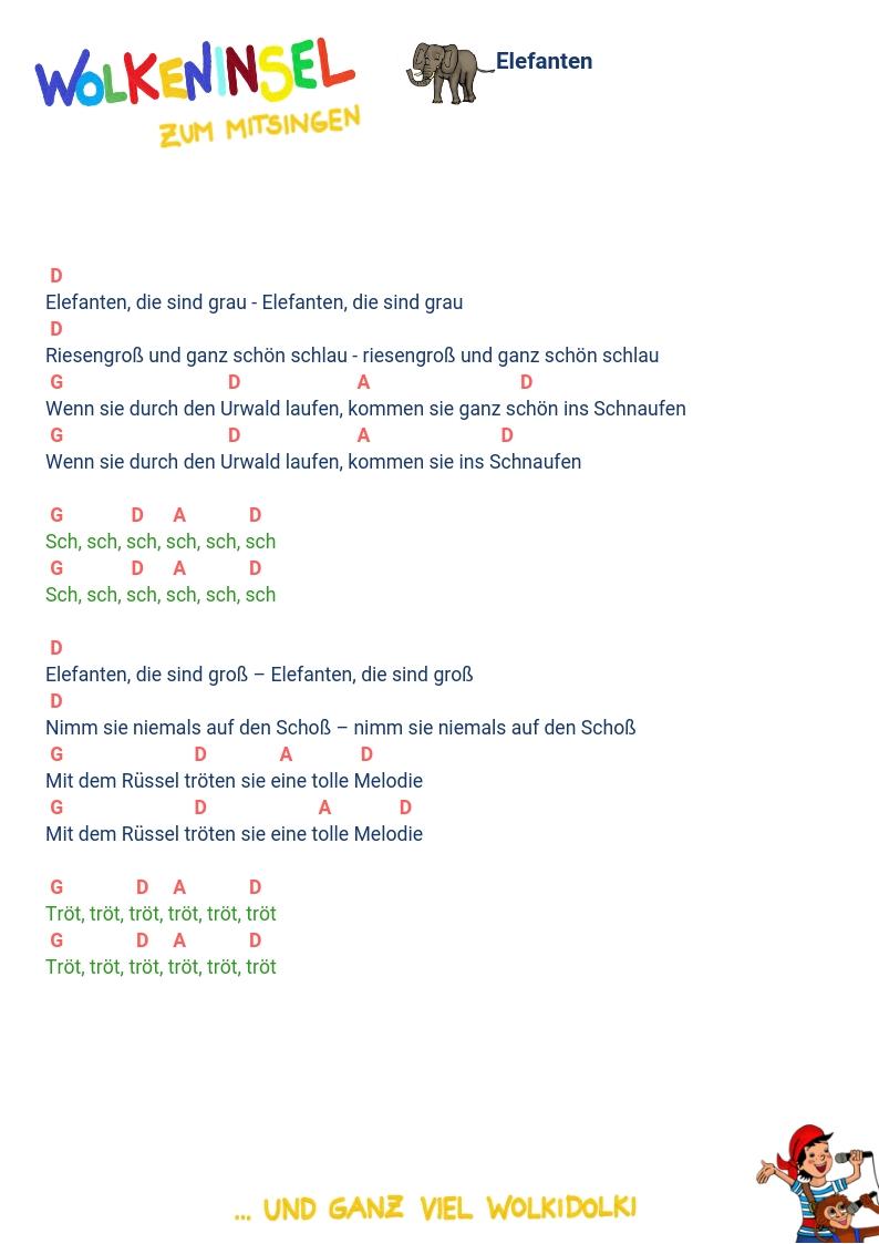 """Wolkeninsel Kinderlieder: Liedtexte und Akkorde Folge 2 """"Die RiRaRiesenrutsche"""" zum Ausdrucken"""