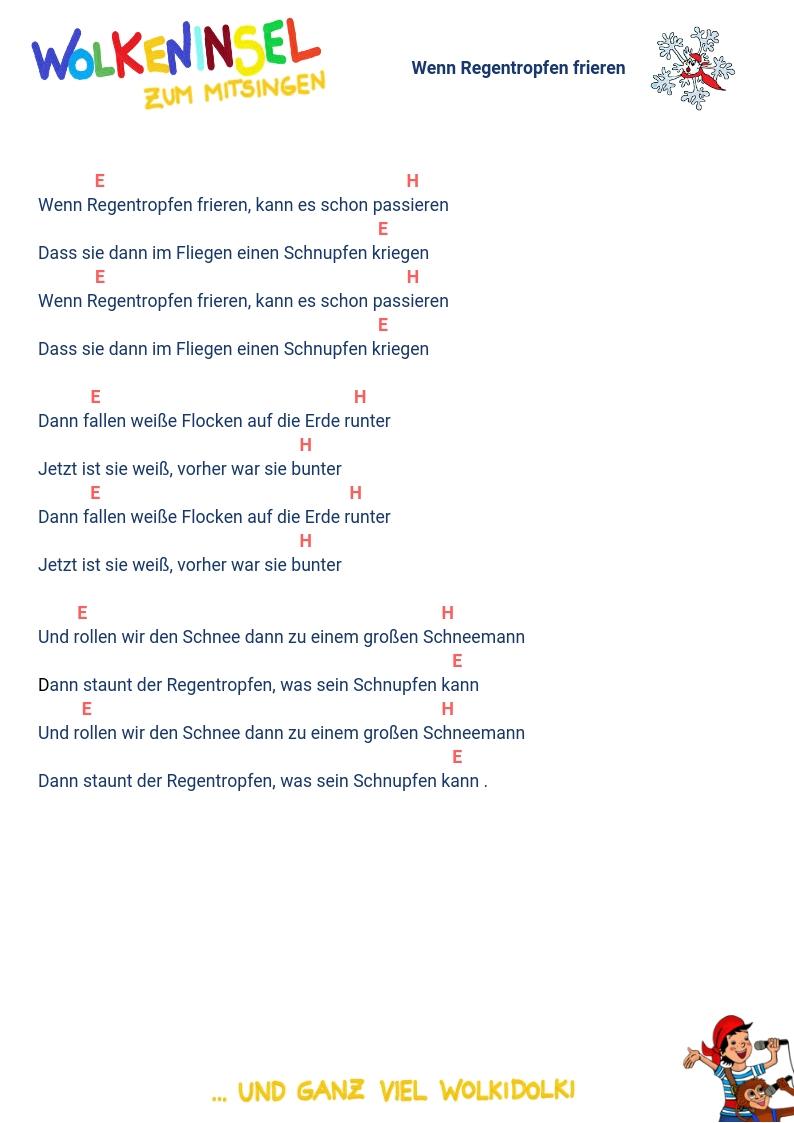 """Wolkeninsel Kinderlieder: Liedtexte und Akkorde """"Weihnachtslieder"""" zum Ausdrucken"""